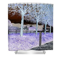 Frosty Trees At The Getty Shower Curtain