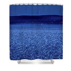 Shower Curtain featuring the photograph Frozen Bay At Night by Onyonet  Photo Studios