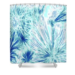 Shower Curtain featuring the digital art Frozen Blue Ice by Methune Hively