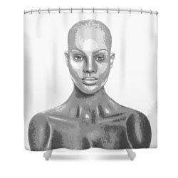 Superficial Bald Woman Art Charcoal Drawing  Shower Curtain