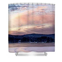 Frozen Lake Sunset In Wilton Maine  -78096-78097 Shower Curtain