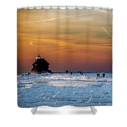 Frozen Lighthouse Shower Curtain