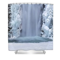 Frozen Multnomah Falls Closeup Shower Curtain by David Gn
