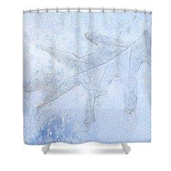 Frozen Oak Leaf Imprint Shower Curtain