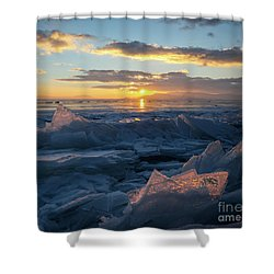 Frozen Sevan Lake And Icicles At Sunset, Armenia Shower Curtain