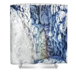Frozen Waterfall Gullfoss Iceland Shower Curtain by Matthias Hauser