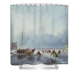 Frozen Winter Scene Shower Curtain by Andreas Schelfhout