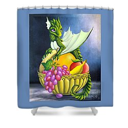 Shower Curtain featuring the painting Fruit Dragon by Mary Hoy