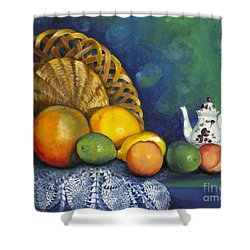 Shower Curtain featuring the painting Fruit On Doily by Marlene Book