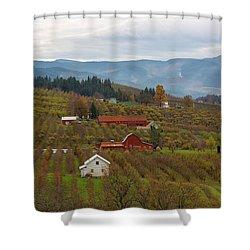 Fruit Orchard Farmland In Hood River Oregon Shower Curtain