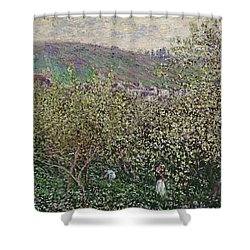 Fruit Pickers Shower Curtain by Claude Monet