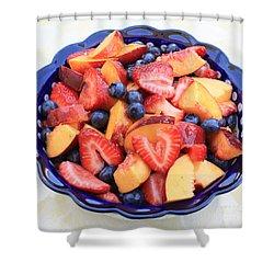 Fruit Salad In Blue Bowl Shower Curtain by Carol Groenen