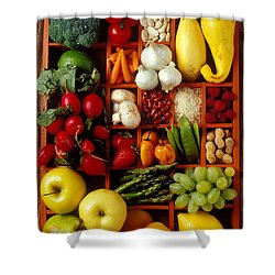 Fruits And Vegetables In Compartments Shower Curtain