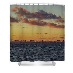 Shower Curtain featuring the digital art Miami Sunset by John Haldane