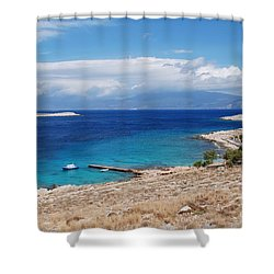 Ftenagia Beach On Halki Shower Curtain