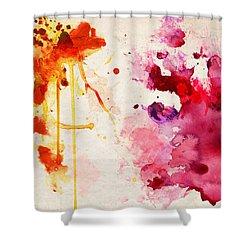 Fuchsia And Orange Color Splash Shower Curtain