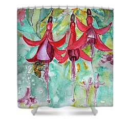 Shower Curtain featuring the painting  Fuchsia by Jasna Dragun