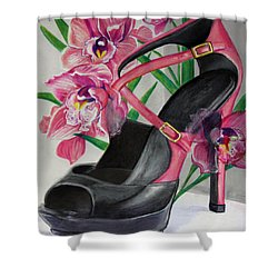 Fuchsia Orchid Colour Block Shower Curtain by Karon Melillo DeVega