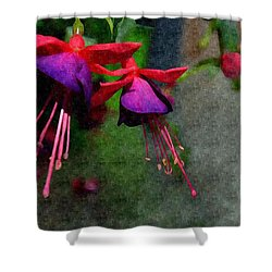 Fuchsia's Beating As One Together -silk Edit Shower Curtain