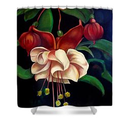Shower Curtain featuring the painting Fuchsias by Irena Mohr