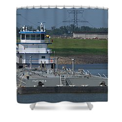 Fuel Barge On The Mississippi R Shower Curtain by Garry McMichael