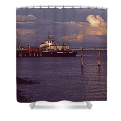 Fuel Dock, Port Townsend Shower Curtain by Laurie Stewart