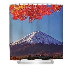 Fuji Shine In Autumn Leaves Shower Curtain