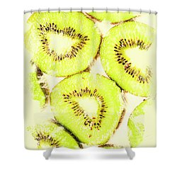 Full Frame Shot Of Fresh Kiwi Slices With Seeds Shower Curtain