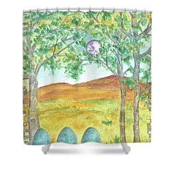 Shower Curtain featuring the drawing Full Moon And Robin Eggs by Cathie Richardson
