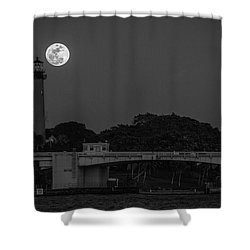 Full Moon And The Jupiter Lighthouse Shower Curtain
