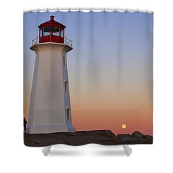 Full Moon At Peggy's Point Lighthouse, Nova Scotia Shower Curtain