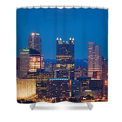 Shower Curtain featuring the photograph Full Moon At  Pittsburgh  by Emmanuel Panagiotakis