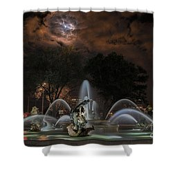 Full Moon At The Fountain Shower Curtain