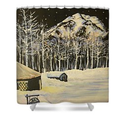 Full Moon At The Sundance Nordic Center Shower Curtain
