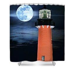 Full Moon Closeup Next To Jupiter Lighthouse In Florida Shower Curtain