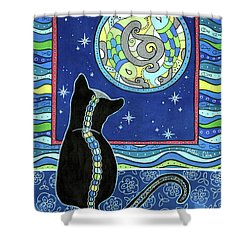 Pisces Cat Zodiac - Full Moon Shower Curtain