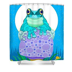 Shower Curtain featuring the digital art Full Moon Froggy  by Nick Gustafson