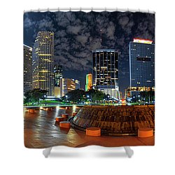 Full Moon Over Bayfront Park In Downtown Miami Shower Curtain