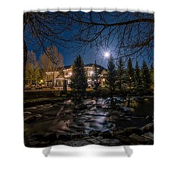 Full Moon Over Breckenridge Shower Curtain by Michael J Bauer