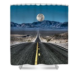 Full Moon Over Death Valley Shower Curtain by Donna Kennedy