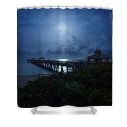 Full Moon Over Juno Beach Pier Shower Curtain