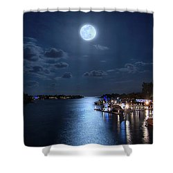 Full Moon Over Jupiter Lighthouse And Inlet In Florida Shower Curtain