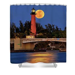 Full Moon Over Jupiter Lighthouse, Florida Shower Curtain by Justin Kelefas