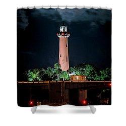 Full Moon Over Jupiter Lighthouse On Christmas Night 2015 Shower Curtain