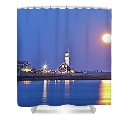 Shower Curtain featuring the photograph Full Moon Over Scituate Light by Susan Cole Kelly