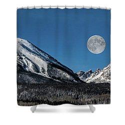 Full Moon Over Silverthorne Mountain Shower Curtain