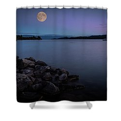 Full Moon Over The Lake Shower Curtain