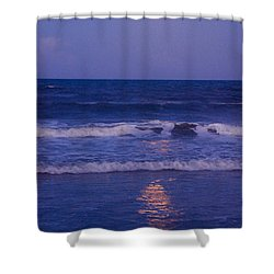 Full Moon Over The Ocean Shower Curtain by Susanne Van Hulst