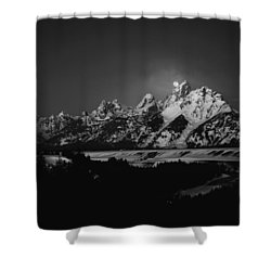 Full Moon Sets In The Tetons Shower Curtain by Raymond Salani III