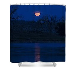 Full Moon Over The Tongue Shower Curtain by Shevin Childers